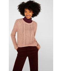 sweater textura con lana y alpaca rosa claro esprit