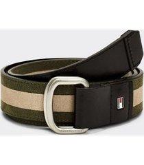 tommy hilfiger men's stripe d-ring belt faded olive mix - 32