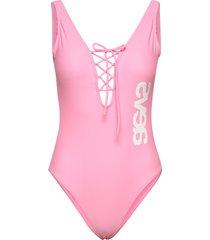 lacing front swimsuit baddräkt badkläder rosa svea