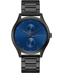 caravelle designed by bulova men's black stainless steel bracelet watch 41mm
