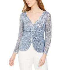 adrianna papell petite sequinned twist-front top