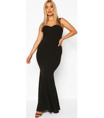 plus bustier detail fishtail maxi dress, black