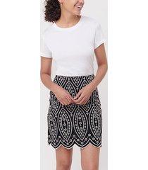 loft embroidered scalloped shift skirt