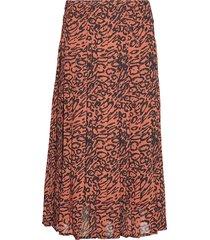 leopard georgette pleated skirt knälång kjol orange calvin klein
