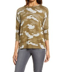 caslon(r) camo cotton blend sweater, size xx-small in olive vintage camo at nordstrom