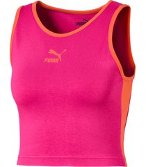 classics t7 cropped tanktop voor dames, paars/aucun, maat xl | puma