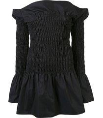 dion lee shirred mini dress - blue