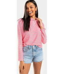 breanna striped hooded top - pink