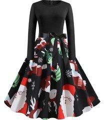 christmas elk snowflake print long sleeve belted plus size dress
