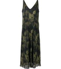 ganni pleated georgette sleeveless midi-dress