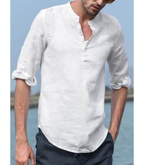 hombres vendimia cuello alto con botones y lino camisa