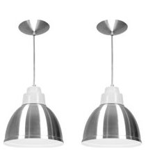 kit 2 lustres pendentes karina de alumínio escovado