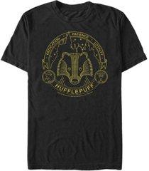 fifth sun harry potter men's hogwarts house animals mystic wash shield short sleeve t-shirt