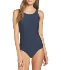 amoena rhodes pocketed one-piece swimsuit, size 8b in dark blue at nordstrom