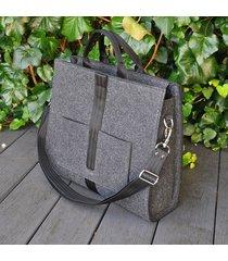 designerska torba z filcu - grafitowa