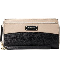 large carryall zip-around leather wristlet wallet