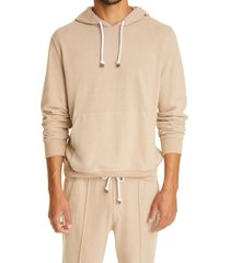 brunello cucinelli cotton jersey hoodie, size large in tan at nordstrom