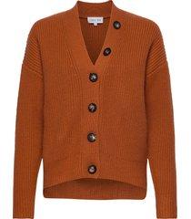 heavy knit buttons cardigan gebreide trui cardigan rood davida cashmere