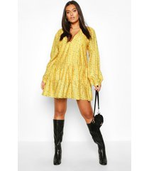 plus ditsy floral v-neck tiered smock dress, yellow