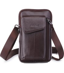 vera pelle business multi-funzionale 7 pollici telefono borsa vita borsa crossbody borsa per uomo