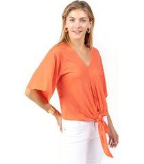 parker tie front tee - coral