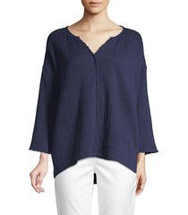 pure navy women's relaxed fit gauzy top - white - size xs
