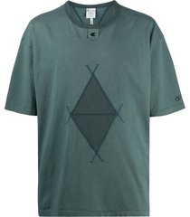 craig green embroidered diamond t-shirt - blue