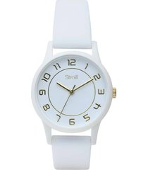 orologio solo tempo con cinturino in silicone bianco cassa in acciaio per donna