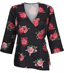 blus med rosmönster amy vermont svart::flerfärgad