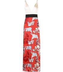 johanna ortiz v-neck floral hybrid maxi dress - red