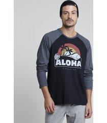 """camiseta masculina """"aloha"""" raglan manga longa gola careca preta"""