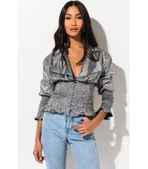 akira foxy lady smocked blouse