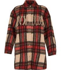 geruite jas met franjes cocha  rood
