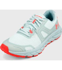 tenis running verde menta-coral under armour charged toccoa trail