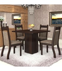 mesa de jantar 4 lugares sala aires nogueira/dakota - viero móveis