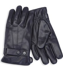 royce new york men's cashmere-lined touchscreen leather gloves - black - size l