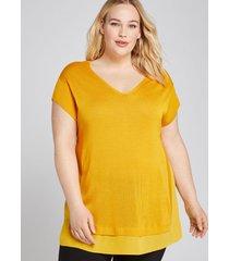 lane bryant women's woven-hem sweater tee 22/24 tropical yellow