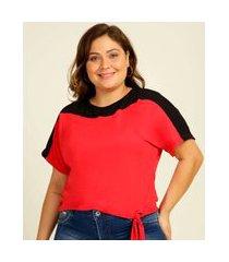 blusa plus size feminina recorte amarração