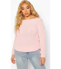 plus slash neck fisherman sweater, pastel pink