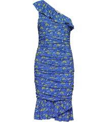 dvf aerin jurk knielengte blauw diane von furstenberg