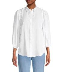 beach lunch lounge women's isobel puffed-sleeve shirt - white - size m