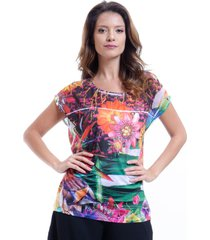 blusa 101 resort wear tunica ampla decote careca estampada floral multicolorida