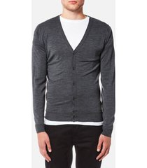 john smedley men's petworth 30 gauge merino cardigan - charcoal - xl - grey