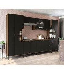 conjunto de cozinha cbpo007-p11 jacarandá/preto kappesberg - tricae