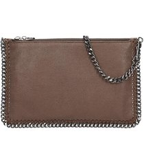 stella mccartney falabella clutch in brown faux leather