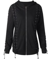 lace up zipped hoodie