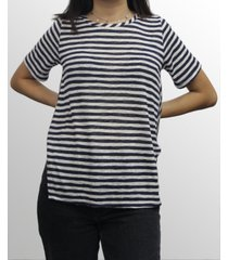 coin 1804 womens stripe button back short sleeve hi lo tee