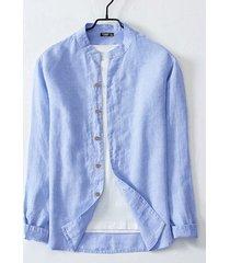 botón de lino informal de moda para hombre diseño cuello alto de manga larga camisa