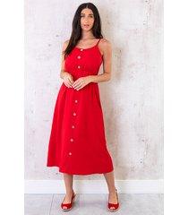 midi jurk knopen santorini rood