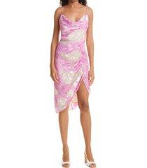 women's sams?e sams?e dapples floral satin burnout dress, size x-large - pink